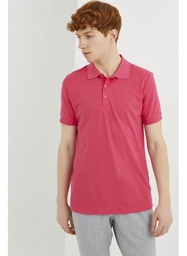 Z Giyim Pamuklu Düğmeli Polo Yaka T-shirt Pembe